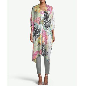 Chico's Tropical-Print Ruana Wrap Kaftan White Colorful Floral Cardigan Duster